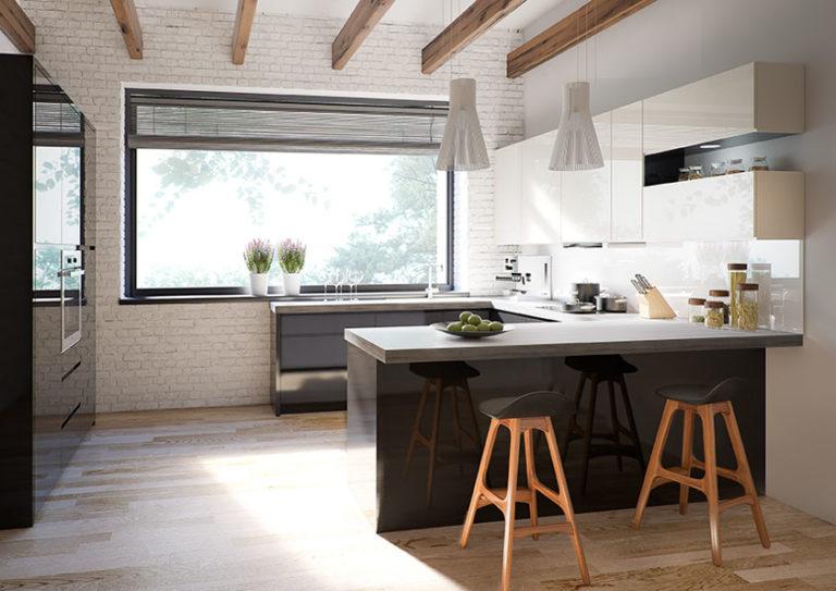 7060426a5c88 moderna-rohova-kuchynska-linka NINA-768x543. Moderná kuchynská linka Nina.  Pri výbere barového pultu ...