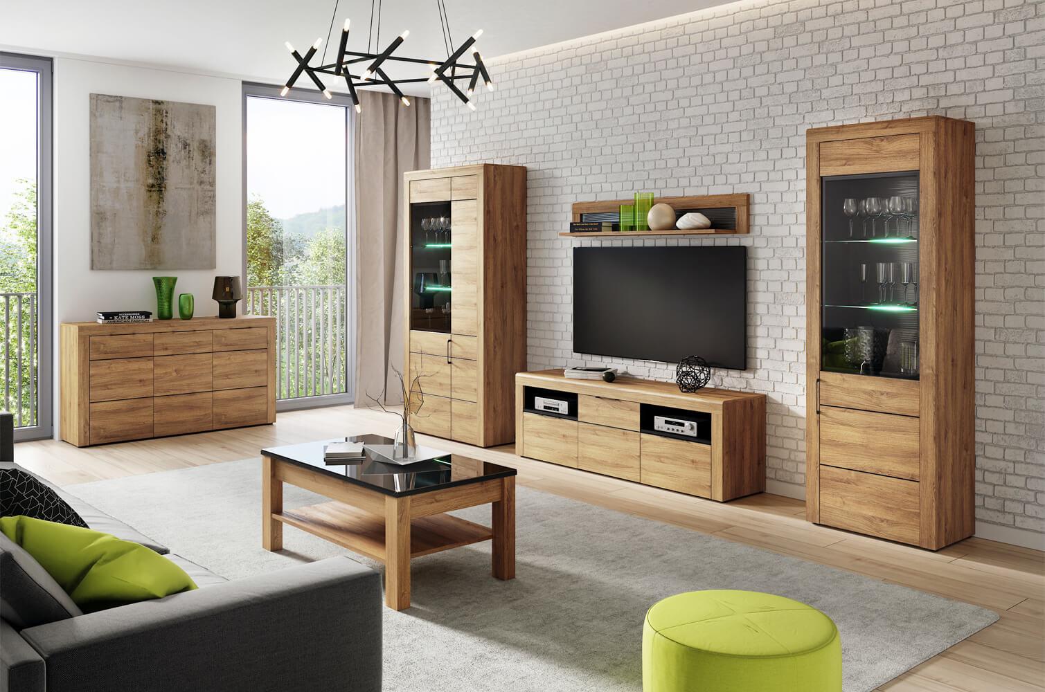 13e33b4bd24c Nádherný sektorový nábytok Kama v ultramodernom prevedení dub camargue v  dokonalom spojení s čiernym matom. Kolekcia Kama ponúka segmenty do  obývacej izby ...