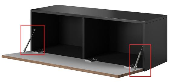 moderny cierny matny TV stolik_ROCO RO-1 plynove piesty doobjendat