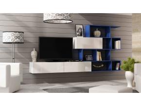 Obývacia stena Vigo 16 biela / modrá